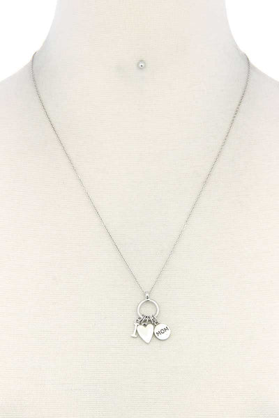 I Heart Mom Charm Necklace