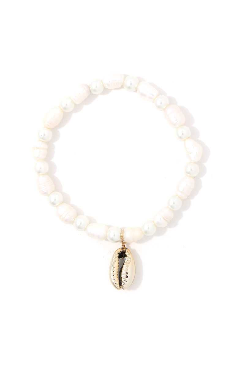 Cowrie Shell Beaded Stretch Bracelet