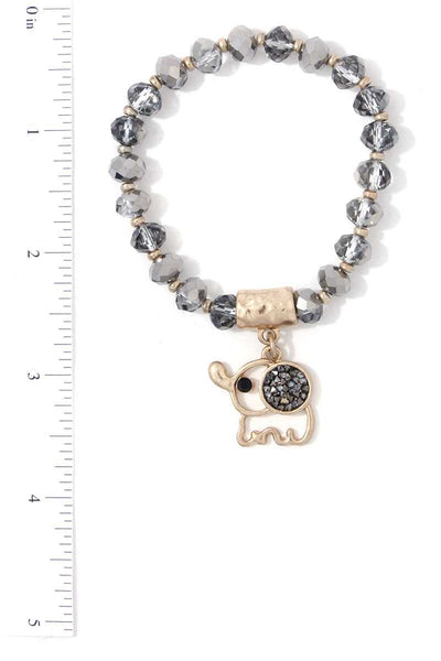 Elephant Charm Dangle Beaded Stretch Bracelet
