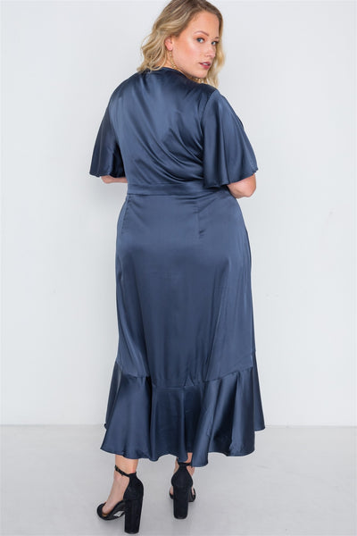 Plus Size Satin Flounce Dress