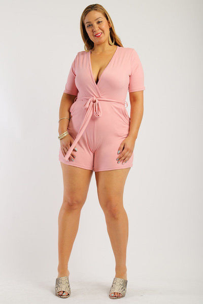 Solid, Short Sleeve Romper