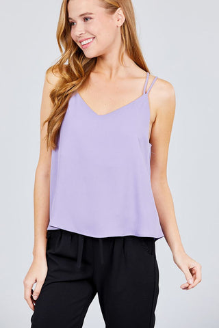 V-neck W/back Cross Strap Cami Woven Top