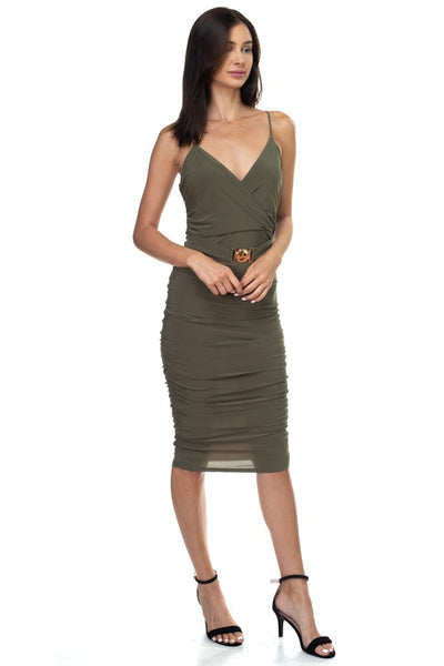 Sleeveless Ruched Belted Midi Dress
