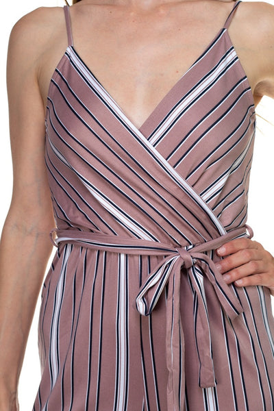 Sleeveless Stripe Waist Tie Jumpsuit