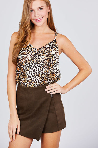 V-neck Back Cross Strap Animal Print Cami Woven Top