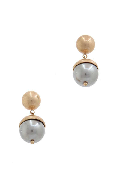 Half Pearl Half Metal Drop Earring