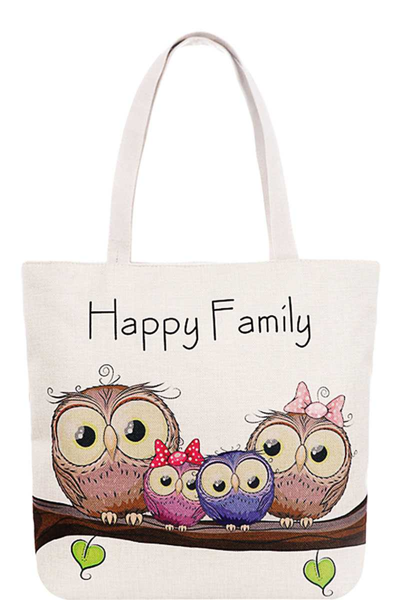 Cute 4 Owl Happy Family Cartoon Print Canvas Tote Bag
