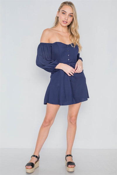 Off-the-shoulder Button Down Boho Mini Dress
