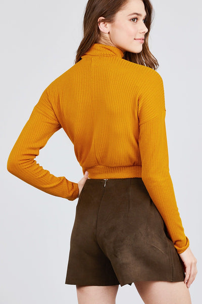 Long Dolman Sleeve Turtle Neck Rib Knit Top