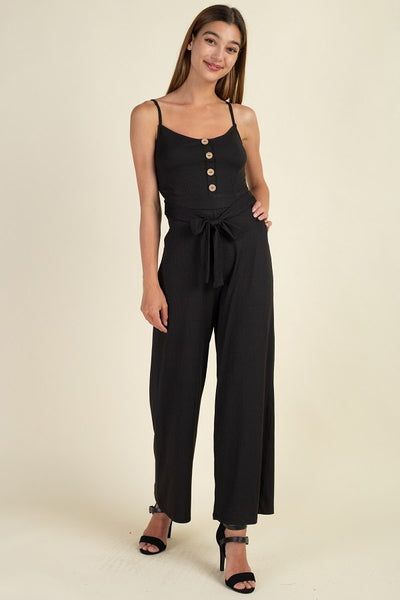 Waist Side Belt Rib Jumpsuit