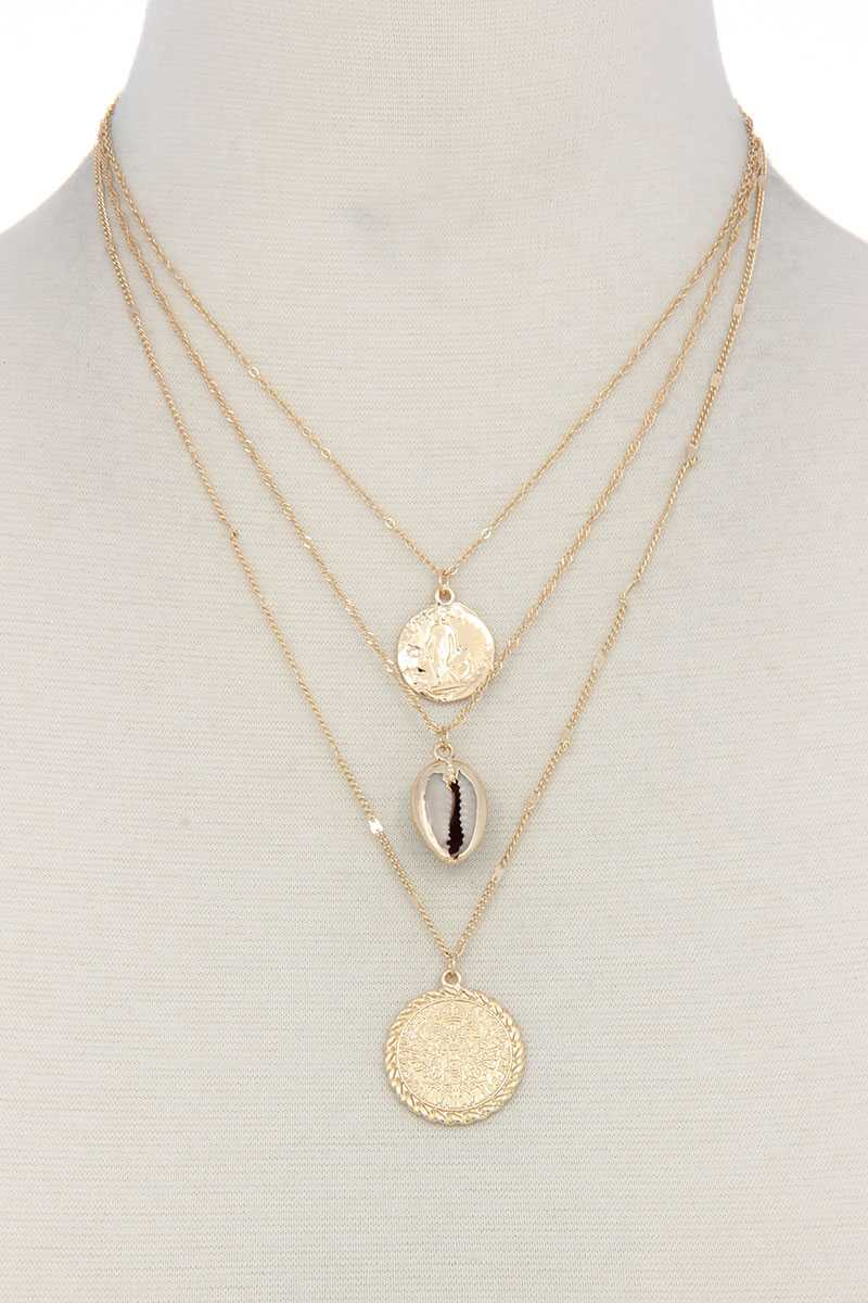 Seashell Coin Charm Layered Necklace