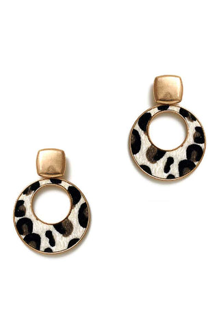 Cute Chic Leopard Fur Circle Drop Earring