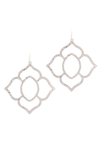 Hammered Pointed Moroccan Shape Drop Earring