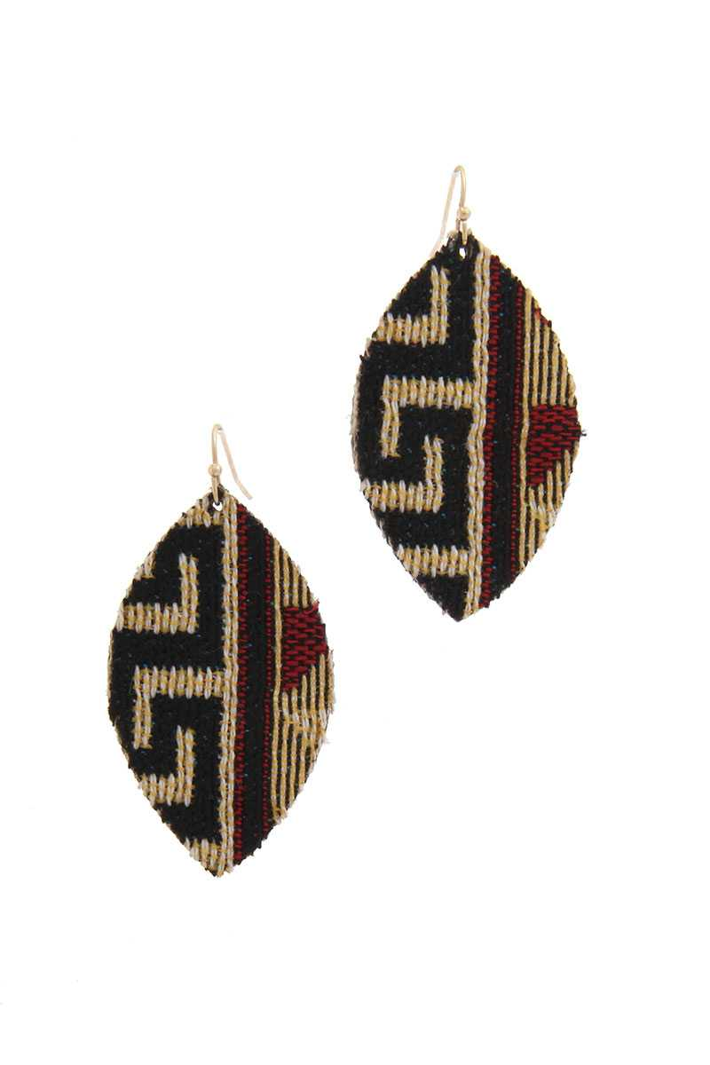 Fabric Pointed Oval Drop Earring