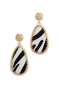 Animal Pattern Teardrop Shape Post Drop Earring