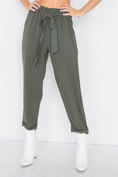 Dark Olive Office Chic Ankle Length Dress Pants