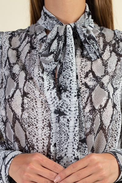 Snake Skin Tie Neck Top