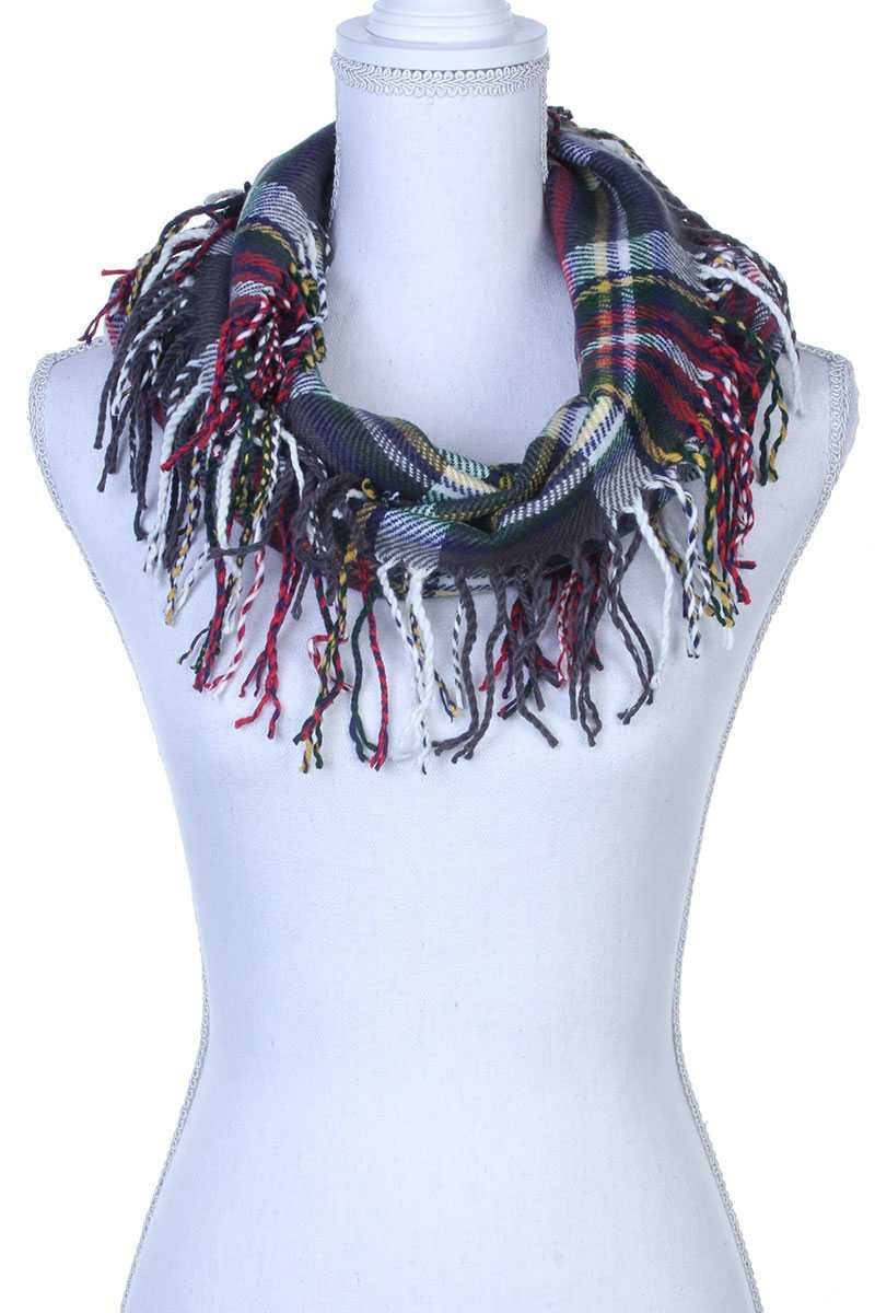 Plaid Fringe Trim Infinity Scarf