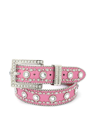 Square Buckle Rhinestone Belt