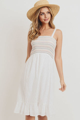 Striped Smocking Ruffled Hem Spaghetti Strap Dress