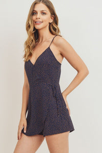 Wrap Surplice Polka Dots Spaghetti Strap Dress