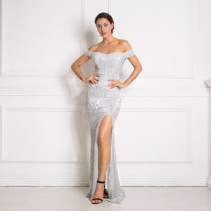 Blanca Fashion Off The Shoulder Silver Sequined Sexy Party Dress