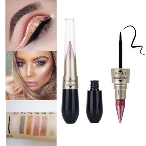 Blanca Fashion 6 Color Double-end Liquid Eyeshadow Pencil Waterproof Glitter Shimmer Eyeshadow Stick 2 In 1 Silver Pink Gold Eyeshadow Pen