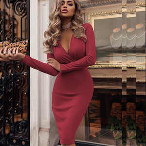 Blanca Fashion Women Vintage Sexy Bodycon Slim Party Dress Long Sleeve Solid Casual Elegant