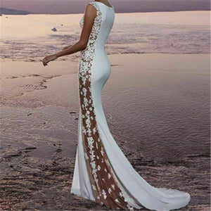 Blanca Fashion Elegant O Neck Evening Gown Long White Side Floral Lace Dress