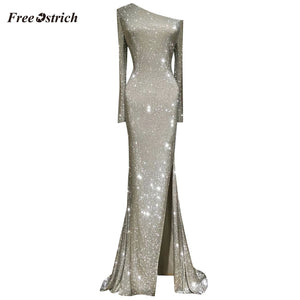Blanca Fashion One Shoulder Asymmetrical Sparkling Long Party Dress