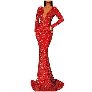 Solid Sparkling Sequin Deep V-neck Long Sleeve Party Fishtail Dress