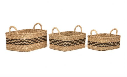 Handmade Seagrass Basket Stripe Rectangle