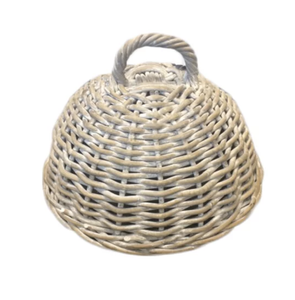 Rattan White Wash Food Cloche