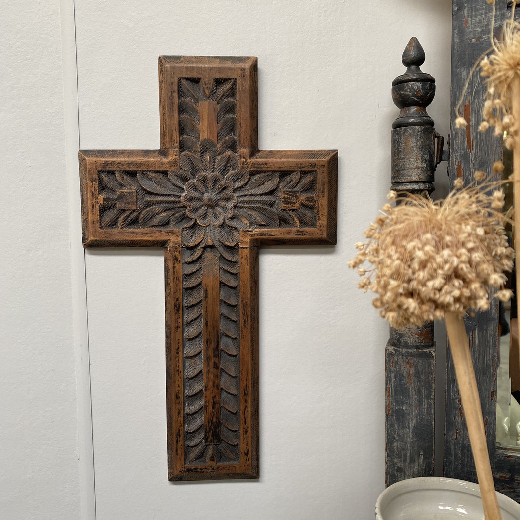 Carved Wood Wall Cross