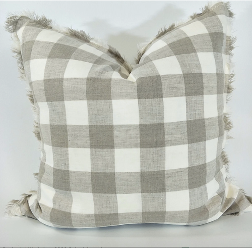 French Linen Check Fringe Cushion