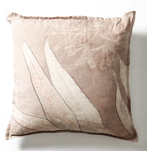 Linen Cushion with Bush-Dye Look