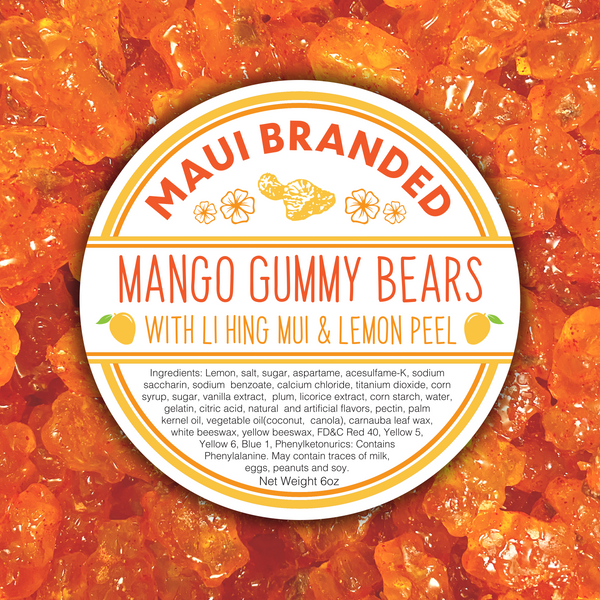 NEW PRODUCT!!! Maui Branded | 6oz. Mango Gummy Bears w/ Lihing-Lemon Peel