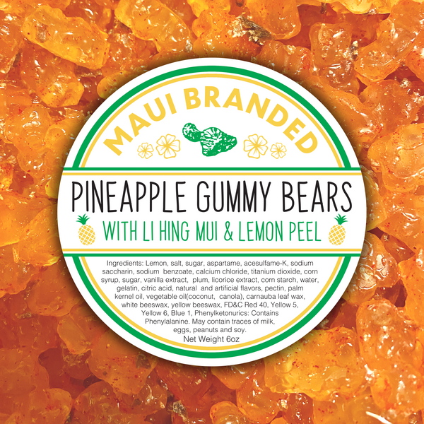 NEW PRODUCT!!! Maui Branded | 6oz. Lihing-Lemon Pineapple Gummi Bears
