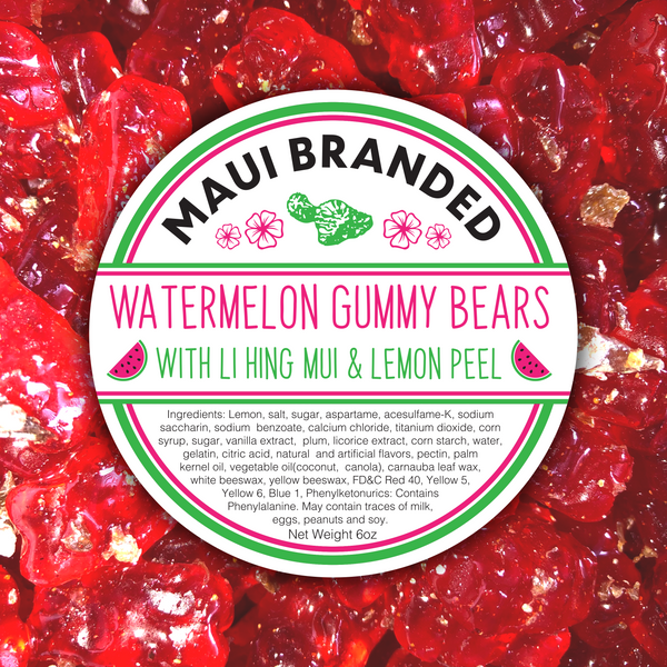 NEW PRODUCT!!! Maui Branded | 6oz. Watermelon Gummi Bears w/ Lihing-Lemon Peel