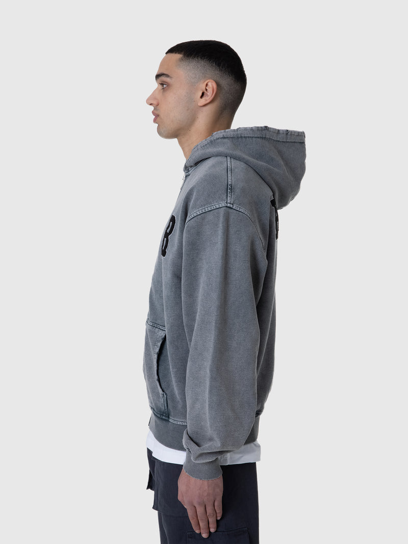 ZIP HOODIE 'RETERNITY' - WASHED GREY