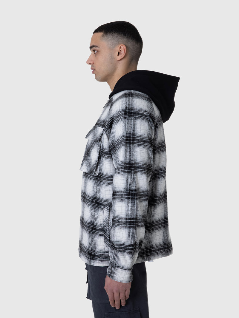 HOODED FLANNEL JACKET - WHITE/BLACK