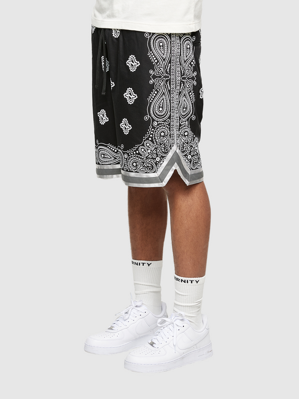 PAISLEY SHORTS - BLACK