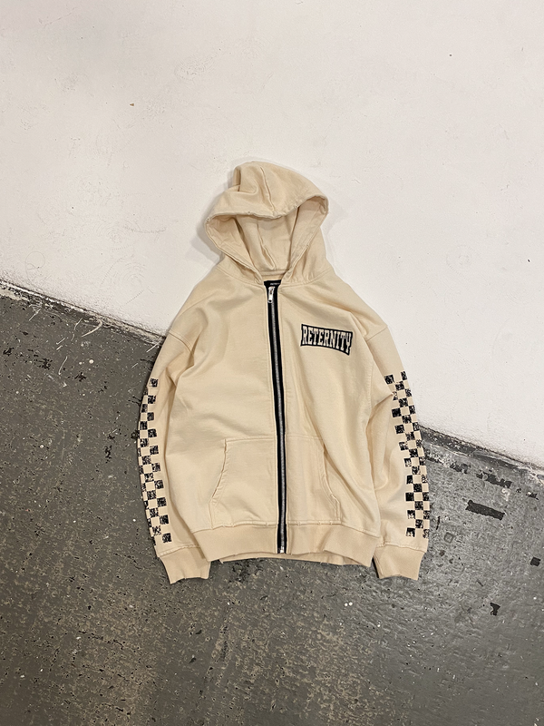 ZIP HOODIE 'PRISONER' - CREAM WHITE