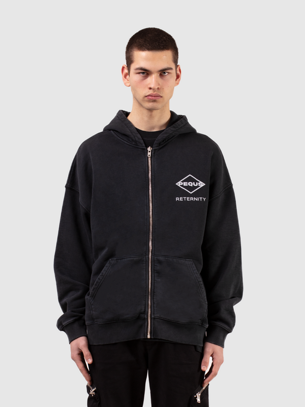 ZIP HOODIE 'GROW TOGETHER' - WASHED BLACK