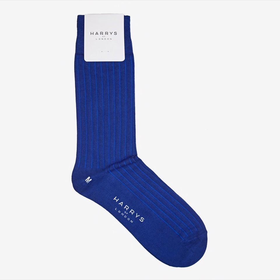 Ribbed Sock Cotton Blue