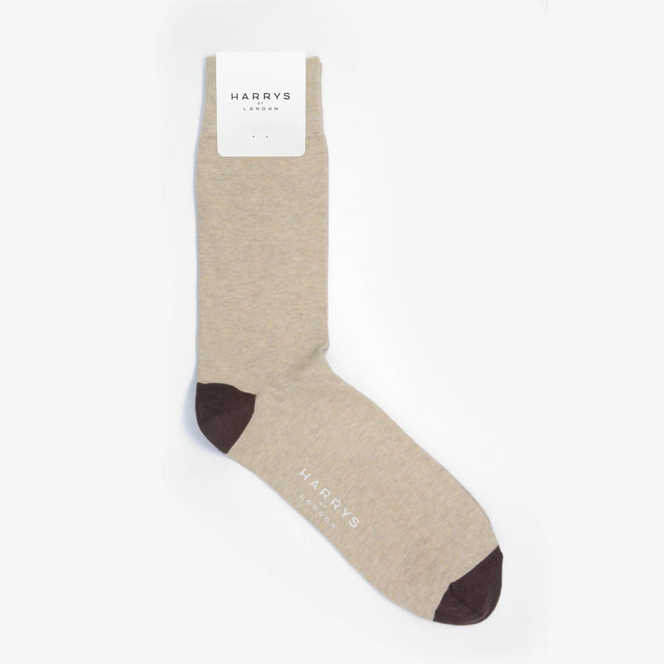 Toe/Heel Cotton Beige socks