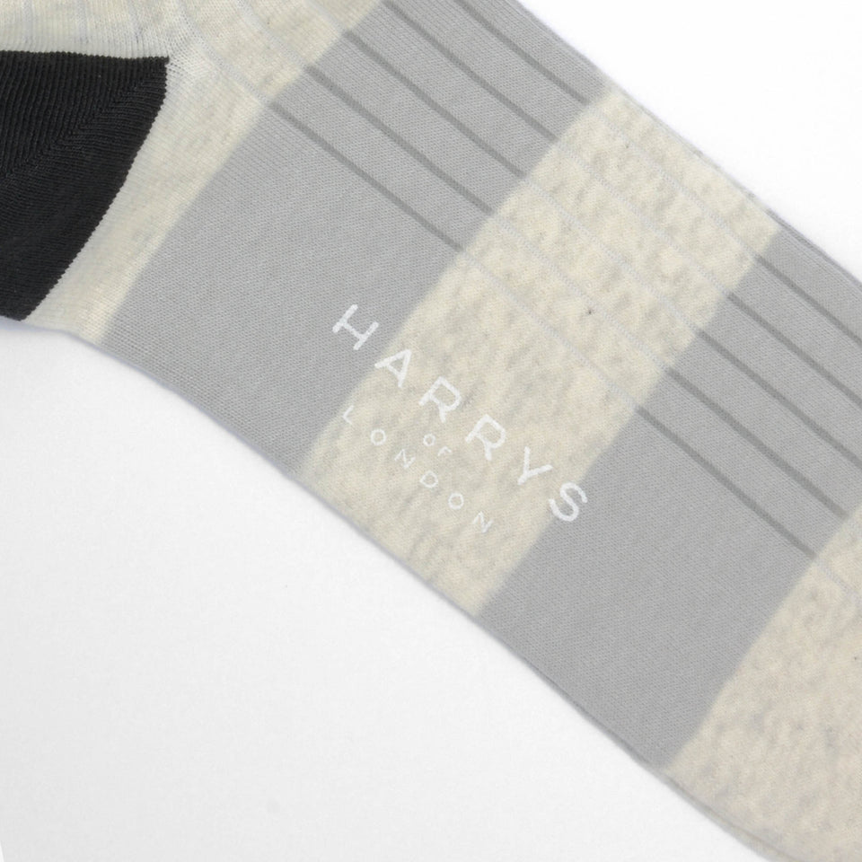 Striped Sock Cotton White/Light Grey