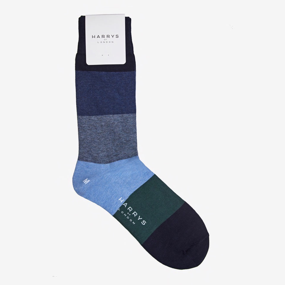 Striped Sock Cotton Blue