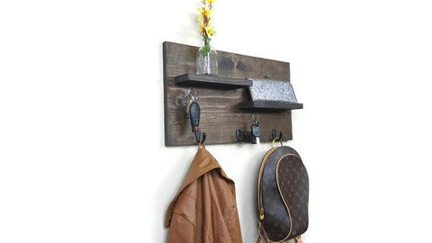 Entryway Organizer, Coat Rack, Mail Organizer, Entry Way Organizer, Key Holder for Wall, Key Holder, Key Hook for Wall, Wood Organizer by JustKnotWood