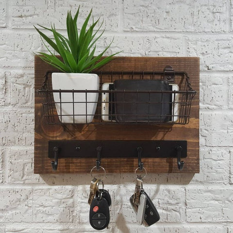 Simply Rustic Mail Organizer Shelf with Basket and Key Hooks by KeoDecor